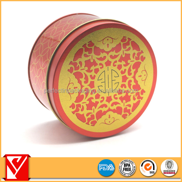 Wholesale red color empty round wedding favor storage tin box