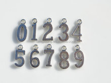 0-9 Silver Number Charms wholesale