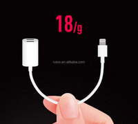 cute shape 2- in- 1 jacks adapter cables for apple 7 audio and charge adapter cable for i phone