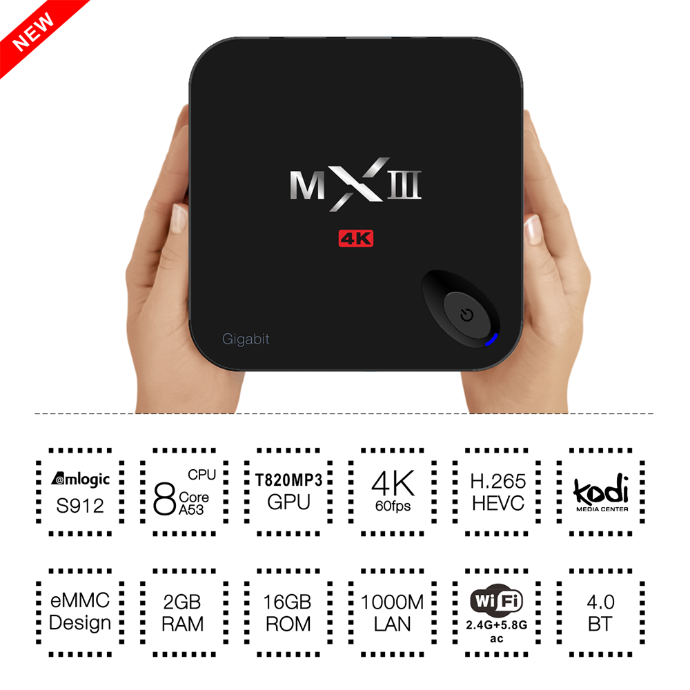 Hot MXIII-G II amlogic s912 tv box 2Gb 16gb Octa-core MXiii-G ii 4K android 6.0 marshmallow tv box