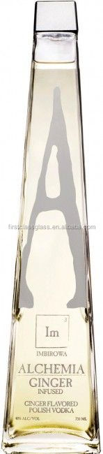12 oz printed triangle shape glass wine bottle