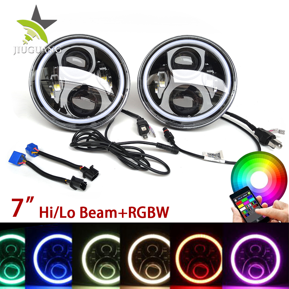 45W 12V Rock Light Led Auto Flash Light Portable, Round 7 Inch Rgb 4X4 Jeep Led Headlight