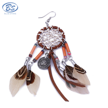 MBE017 sliver coin bohemian tribal thread leather tassel hoop dream catcher feather earrings women jewelry