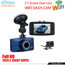 2016 WIFI Dual Lens Car Camera Two Lens Vehicle DVR Dash Cam Loop Recorder G-sensor Twins Cam Black Box