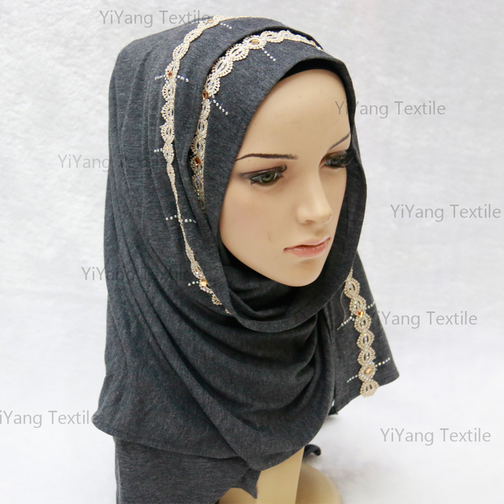 Fashion Lace Floral Plain Beaded Black Islamic Party Muslim Names of Girls Pictures Hijab