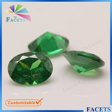 Facets Gems Wholesale Synthetic Oval Shape CZ Gemstone Loose Russian Emerald