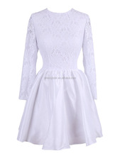 Western stylish cheap short white lace bridal gown with long sleeve