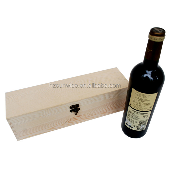 Small order accepted cheap solid wood single bottle wine box