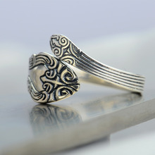 Newest Design Fashion Open Adjustable Ring Fancy Sterling Silver Spoon Rings