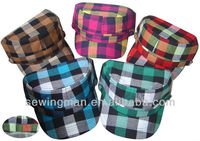 Women's Military Cadet Style Cap in Cotton Checks
