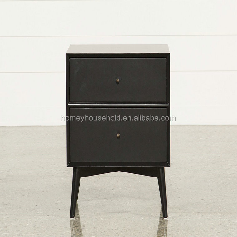 Hot Sale Solid Wood Classic Modern Black Nightstand