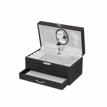 Luxury leather jewelry music box with drawer