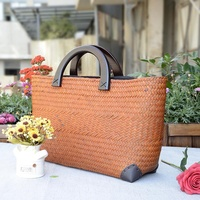 New Style Large Summer Woven Rattan Beach Shoulder Bag With Inner Pouch Straw Handbag For Lady