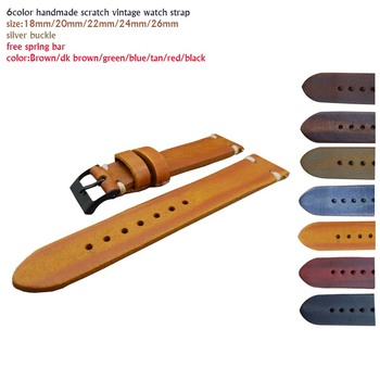 Handmade Band 20mm Vintage Look Handmade WatchStrap Leather With Pvd Buckle
