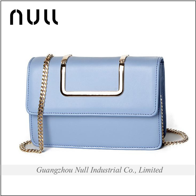 Make in china fashion metal chain small size lady party factory wholesale price leather cross body bag