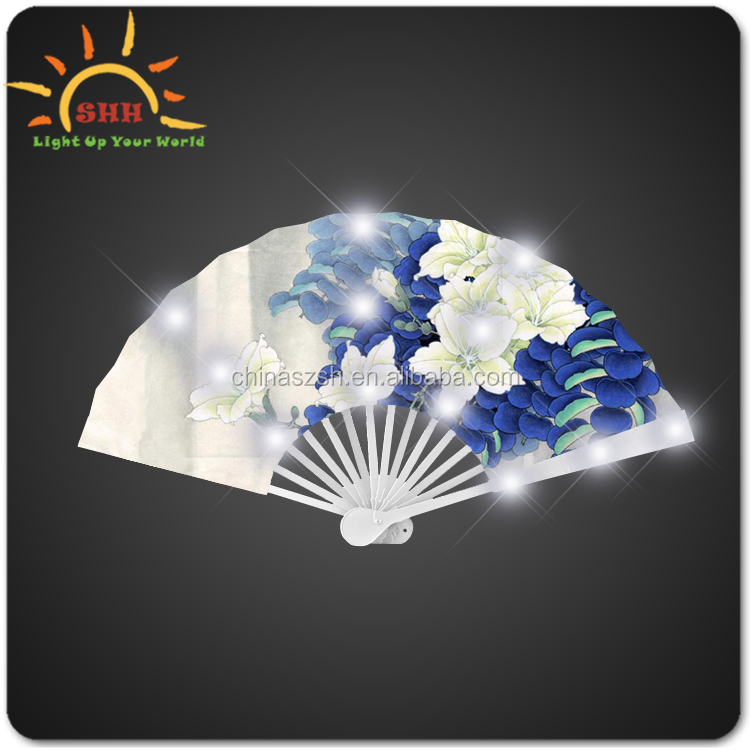 Promotion Gift Led Flashing Folding Fans For Sale,paper craft hand fan