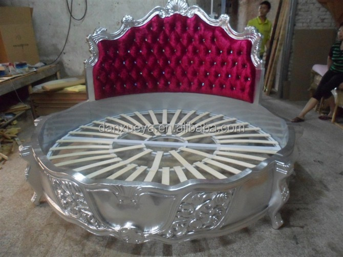 Alibaba Wooden Carved Round Bed Antique Bedroom King Size