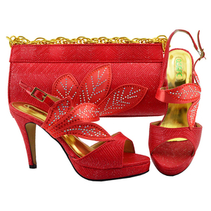 China wholesale fashion leather African designer matching italian shoes and bag set
