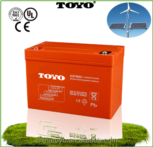 Maintenance free ups 2V 12V90AH Sealed lead acid battery for lighting equipment