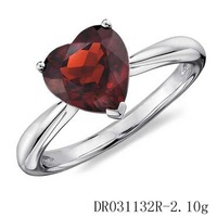 Mexican 925 Silver And Gemstone Jewelry Natural Red Garnet Engagement Heart Ring Setting Wholesale