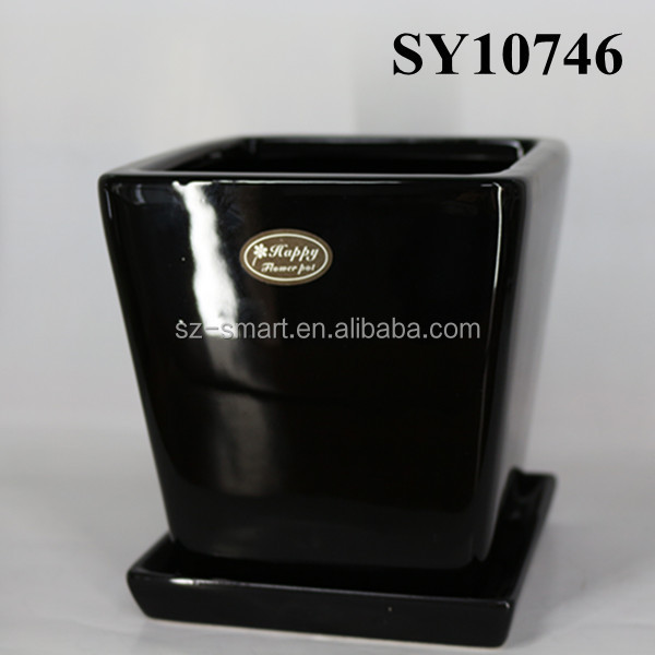 wholesale square black ceramic flower pot with saucer