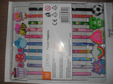 funny cartoon pencil top eraser,stationery set,blister pack