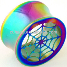 Ear Plug Tunnel Body Piercing Jewelry Anodised Titanium Double Flared Flesh Tunnel Ear Gauge with Spider Web Design