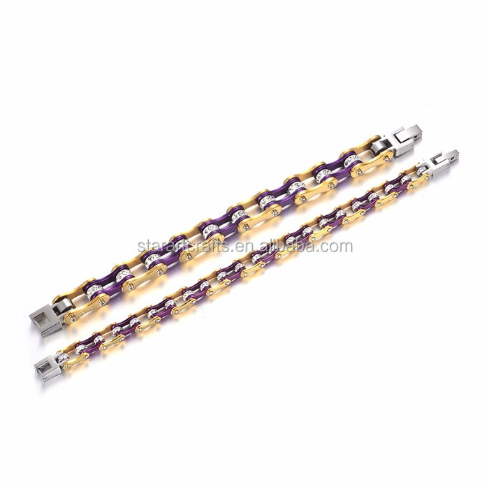 Gold&Purple Motorcycle Chain Stainless Steel Biker Bracelets from China Factory