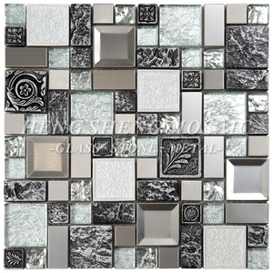 Unique Bronze Square Silver Foil Glass Mixed Carve Resin Mosaic Tile For Decoration Art Wall