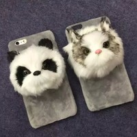 Lovely Cute 3D Plush Cat Panda Head Fur Phone Case Cover For iPhone 6 4.7 / 6 Plus