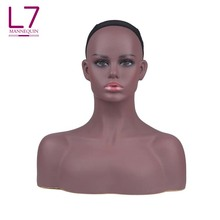 Wig Display African American Women Black Big Breast Half Body Female Mannequin Head With Shoulders