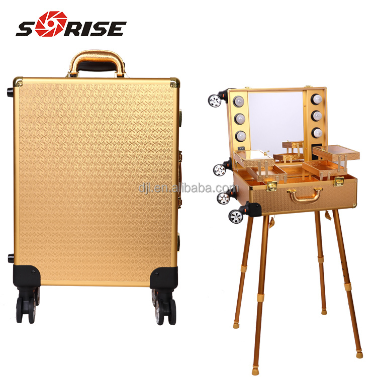 Sunrise 2017 Professional customized glod aluminum train Makeup Case with light mirror