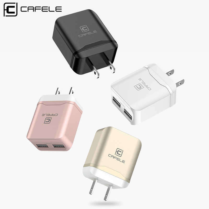 Cafele USA Plug Dual USB Charger DC 5V 2.4A 12W Mobile Phone Charger for iPhone iPad Portable Travel Charger for iPhone