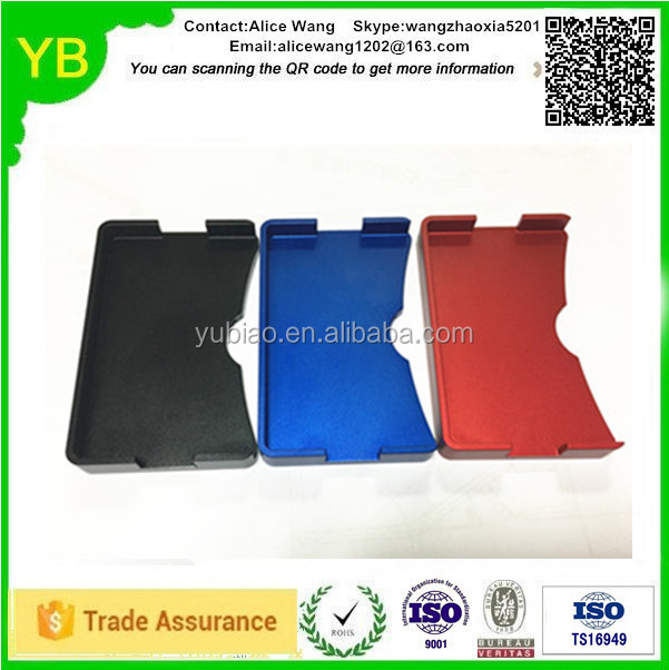 Custom aluminium red/black/blue credit card holder wallet in Guangdong ISO9001/TS16949
