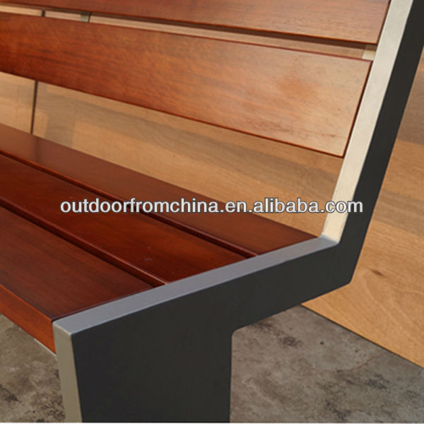 Durable metal frame park bench/ patio bench/ wooden bench with solid wood seat pan