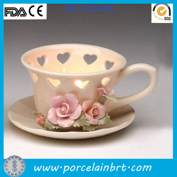Rose design heart shape ceramic candle cup for tealight