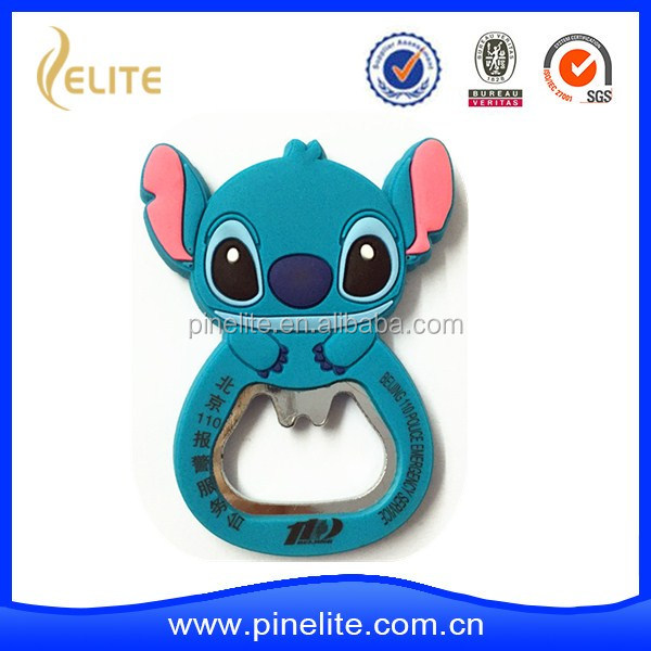 Wholesale customized fashion cute stitch shaped soft pvc bottle opener