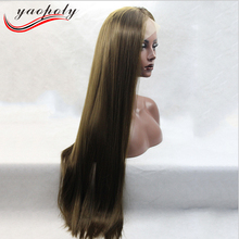 aliexpress hotsale Long top Silky Straight light brown Cosplay Wig Synthetic Lace Front Wig For White Woman Wig