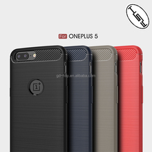 For OnePlus 5 Scratchproof Back Cover Soft Case with Accurate Dimension Brushed Carbon Fiber Slim TPU Case for One Plus 5