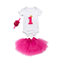 MUQGEW Baby Girl Birthday Party Outfits Tutu Princess Bowknot Romper Skirt Headband Set newborn baby girl clothes roupa infantil