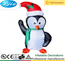 Airblown Penguin Wearing a Santa hat inflatable X-mas Penguin with lights up LED
