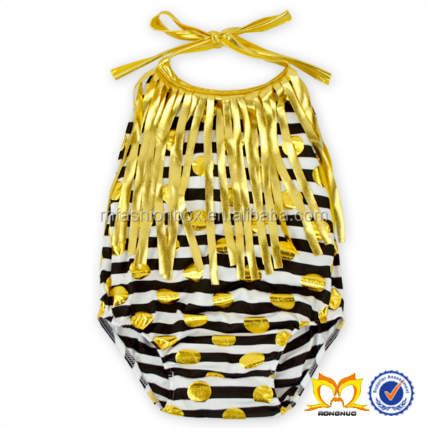 WholesaleWholesale Baby Leotards Gold Fringe Trim Girls Stripes Rompers Frock Design Rompers For Baby Girl