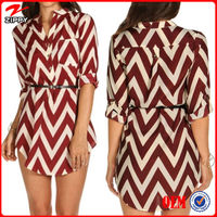 Zippy 2014 Casual Fashion Chevron Ladies Blouse/Long Sleeve Autumn Women Tops