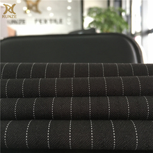 New Fashion 200D*200D Black Polyestaer Woven 9MM White Stripe Suiting Fabric Formal Wear Cloth