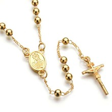 Eccosa Gold Chains Silver Plated Fashion Long Chain <strong>Necklaces</strong> Rosary Catholic <strong>Necklace</strong>