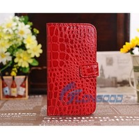 Crocodile Flip Button Leather Case With Credit Card Slots & Holder For Samsung S4 i9500