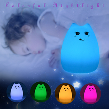 2018 Hot selling LED baby kid night light 7 colors flashing USB chargeable cute design cat shape silicone night lamp