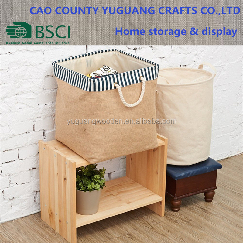 Folding Laundry Hamper Burlap Canvas Storage Organizer Basket