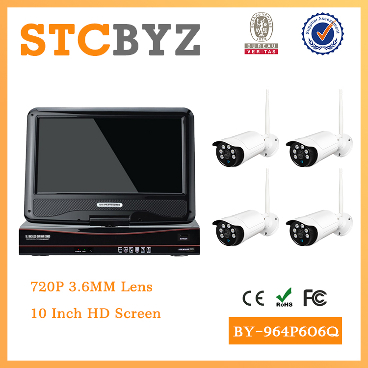 10 inch screen 4ch wifi 720P 1MP cctv Outdoor wireless security system
