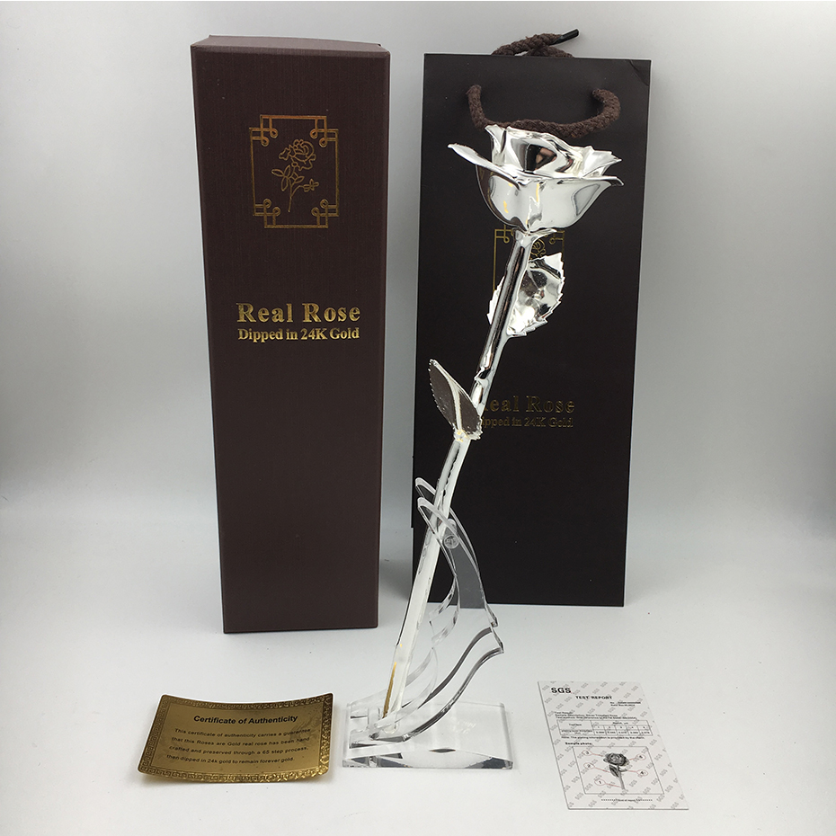 Wedding guests <strong>Gift</strong> 27cm Silver Dipped Forever Rea Rose with <strong>gift</strong> box and bag and acrylic stand